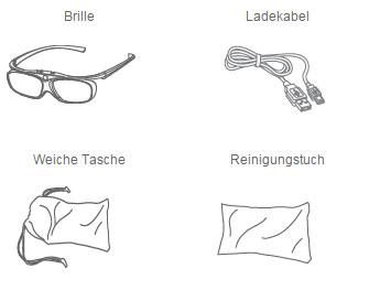 Brille, Ladekabel, weiche Tasche, Reinigungstuch