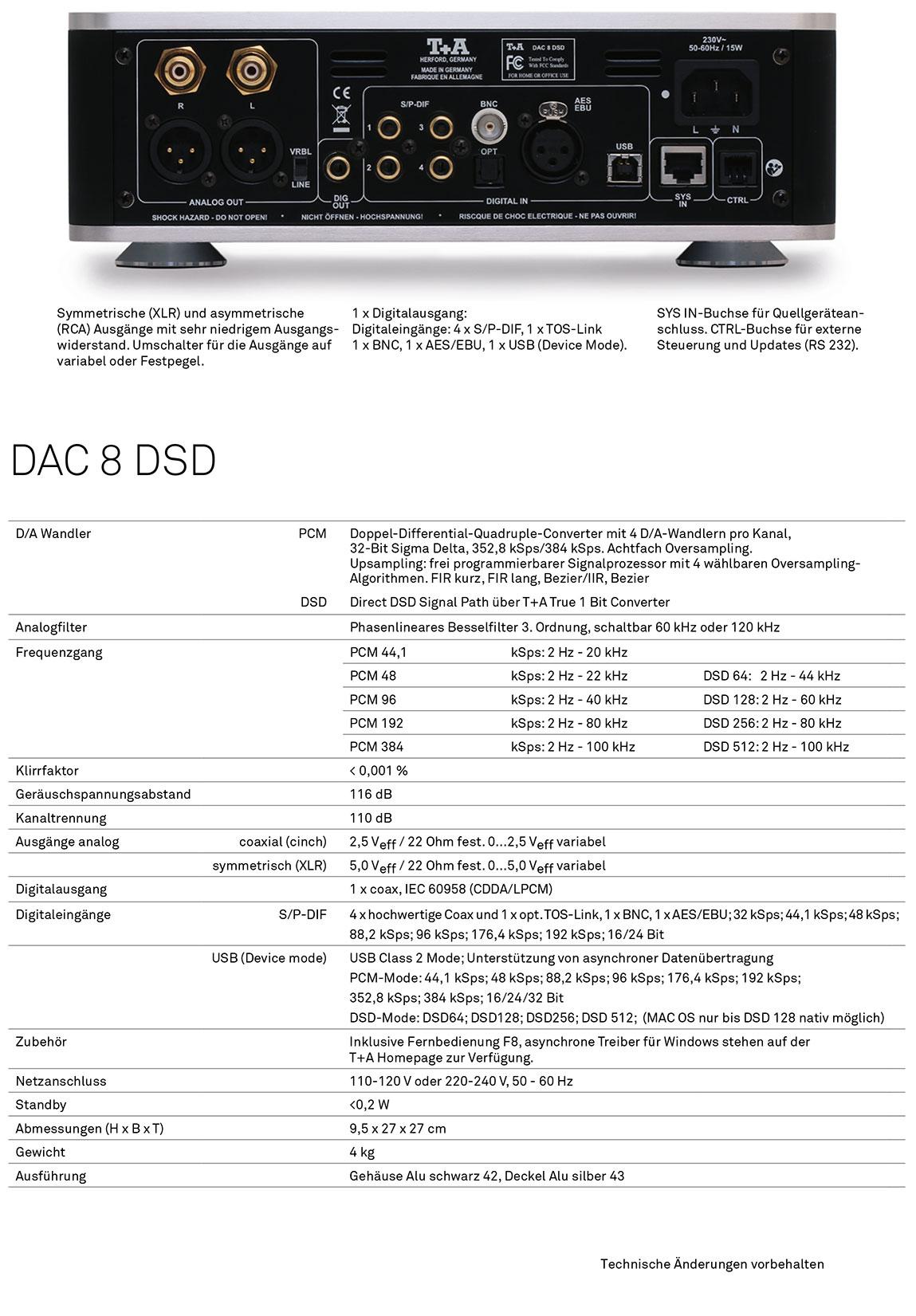 T+A DAC 8 DAS - Technische Daten