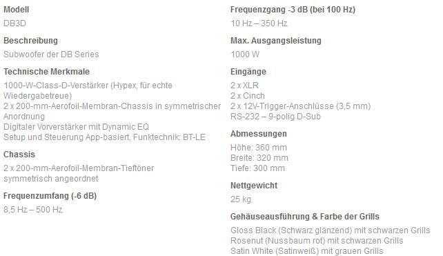 Technische Daten zum DB3D
